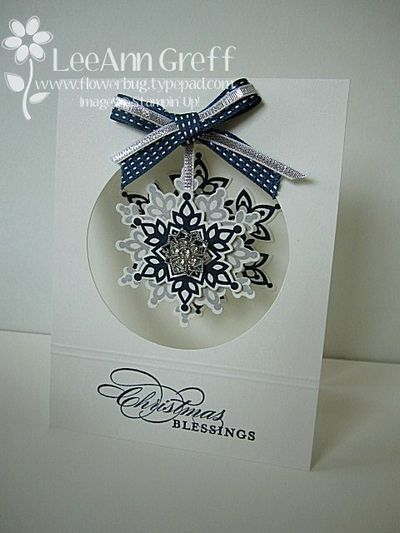 A fun snowflake card by LeeAnn. She used Festive Flurry & its framelits, More Merry Messages, a circle die, and new ribbon & embellishments from the Holiday Catalogue.