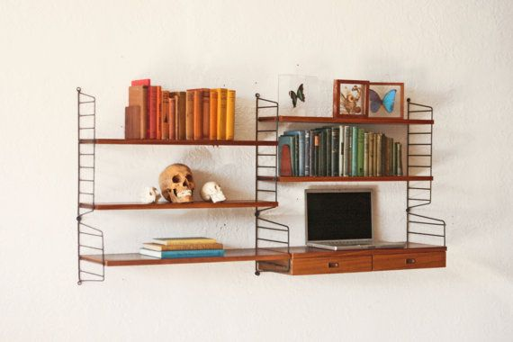 Teak String Shelving Wall Unit Mid Century by OTHERTIMESvintage, $950.00