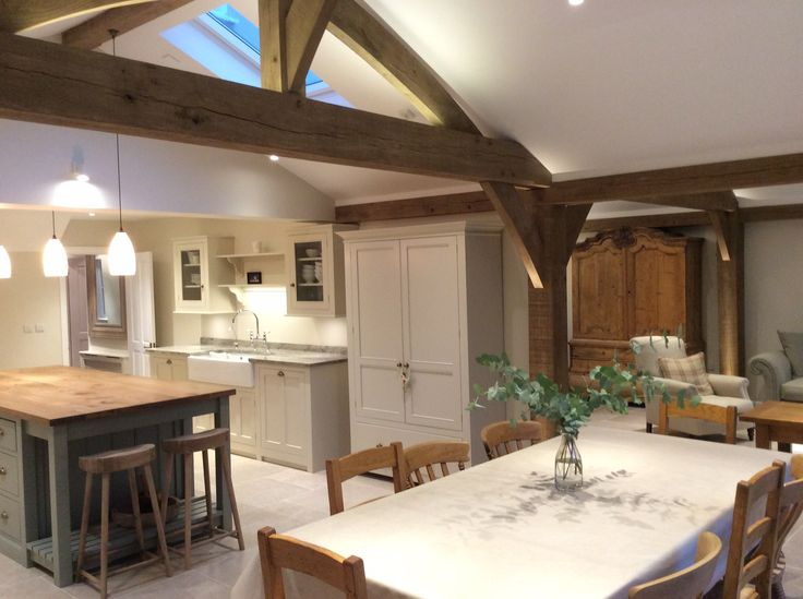 Carpenter Oak extension Oak framed house, open plan living, exposed oak beams, vaulted ceiling, oak worktops, kitchen island, Belfast sink,