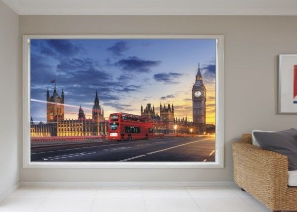 BLACKOUT PHOTO ROLLER BLINDS, PICTURE BLINDS, BIG BEN AND RED BUS