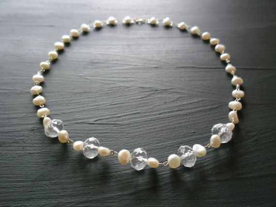 New listing: Homemade wedding rosary necklace. 14K gold, clear crystals and fresh water Pearls. Such a beautiful combi :)  JHFWBeadsAndFindings  at Etsy, €99.00