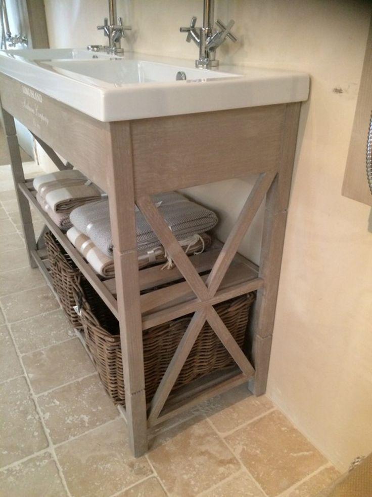 Waschtisch Im Landhausstil Doppelwaschtisch Farbe Woodwash Breite 120 Cm Doppelwaschtisch Waschtisch Badmobel Landhausstil