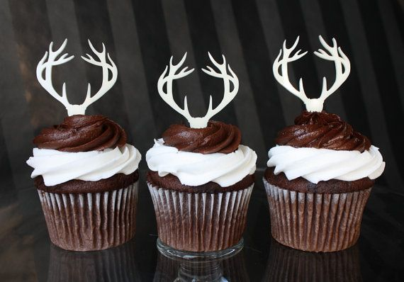 12 Deer Antler Cupcake Toppers from etsy