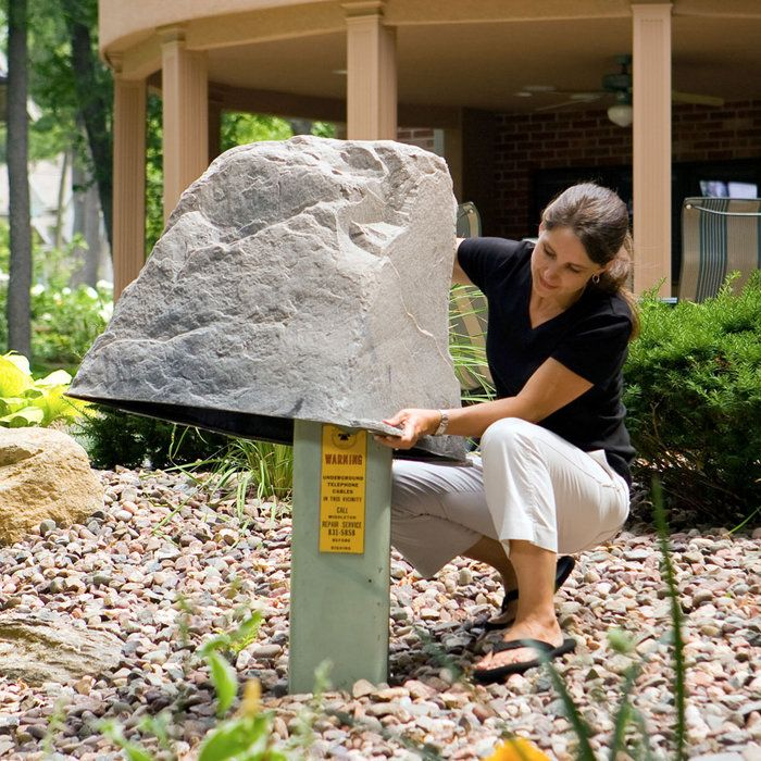 Faux landscaping rock pump and utility box covers for Landscape rock utility cover