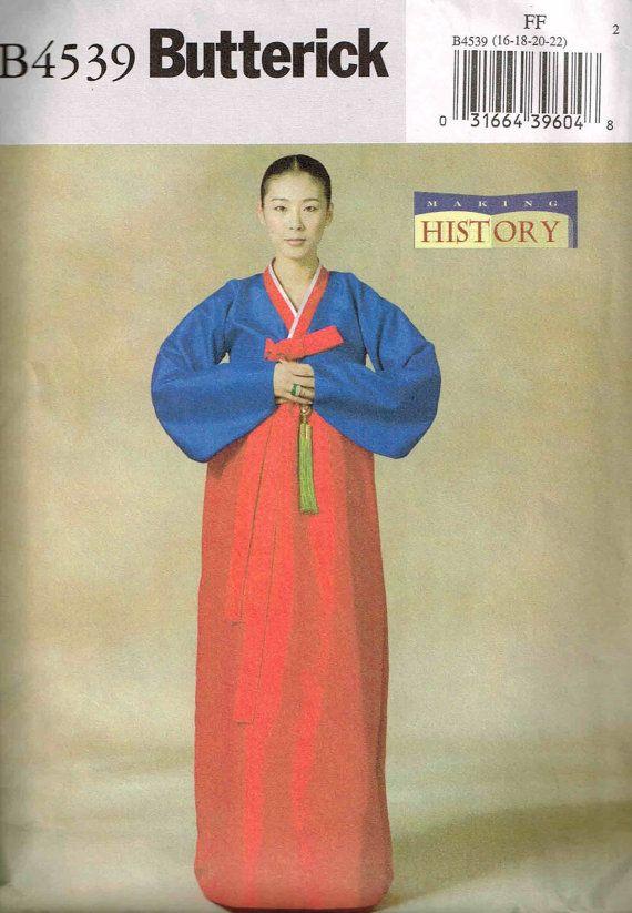 Traditional Korean Wedding HanBok Dress Sewing Pattern number B4639. A Making History Series pattern Butterick 4639. Size 16-18-20-22