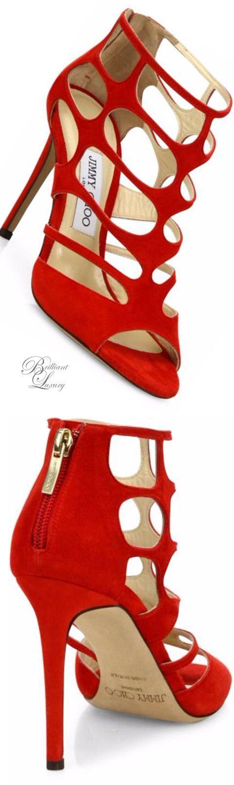 Brilliant Luxury * Jimmy Choo 'Suede Cutout Peep-Toe Sandals' SS 2016