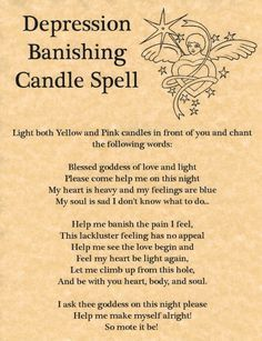 Depression Banishing Candle Spell, Book of Shadows Page, BOS Pages, Witchcraft picclick.com