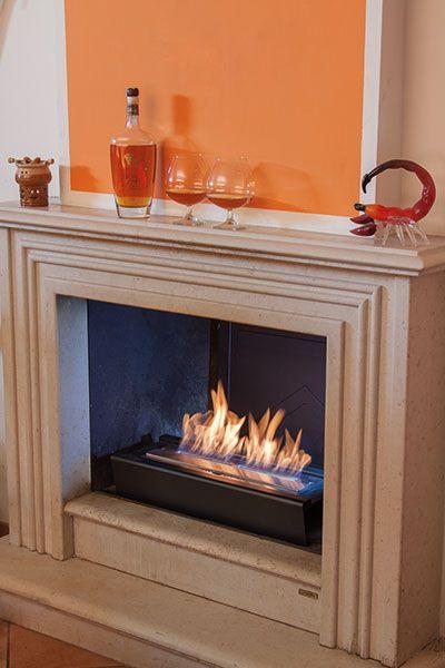 SUPPORT Elegante supporto per i burner FIRE-00 e FIRE-02. Si inserisce direttamente nel camino e si chiude la cappa in maniera di fare rimanere il calore nell'ambiente senza disperderlo nella canna fumaria.