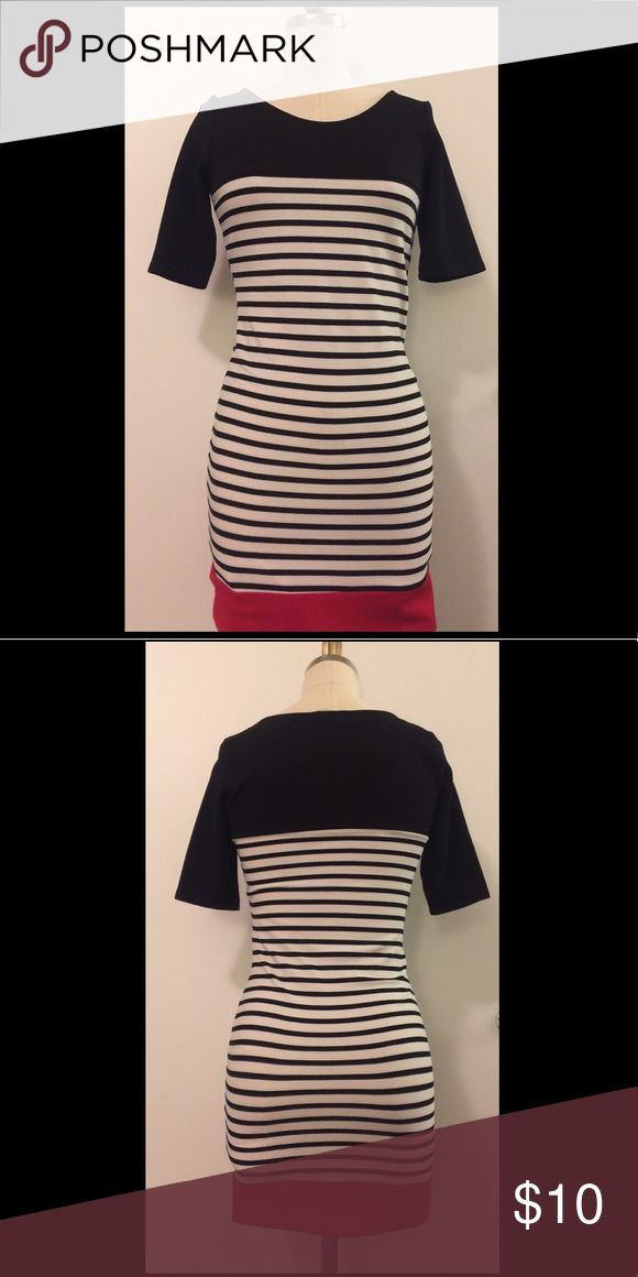 Nautical body con dress Super cute navy stipe dress with navy and red color blocks! The sleeve length hits just above the elbow! Super stretchy material! It's been hemmed to fit a petit frame. The hem can be taken out (by request from buyer) to add a few additional inches of red color blocking to the dress. Dresses Mini