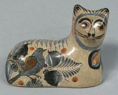 Mexican Ceramic 1960 Burnished Cat Tonala Jalisco