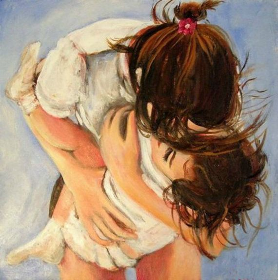 Fine art giclee print of original oil painting of a mother bending down to scoop her daughter up in a sweet embrace…love... by Tina Petersen.