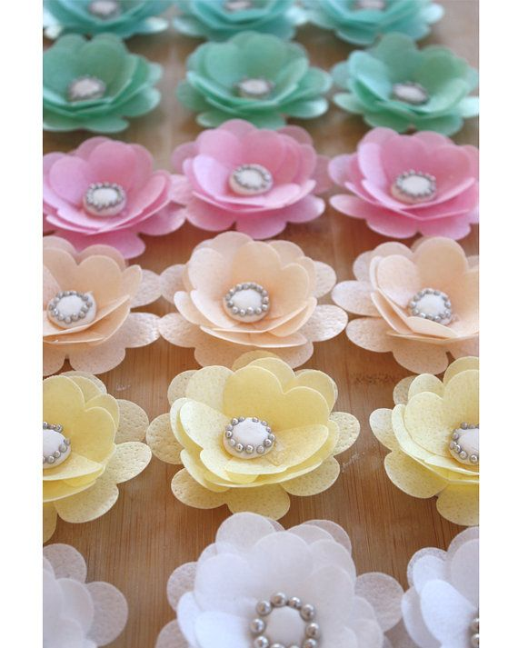 6 EDIBLE WAFER PAPER flower perfect for by StylishlySweetCakes