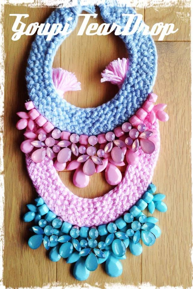 Turquoise statement handmade necklace , pink light blue love these colors!!!