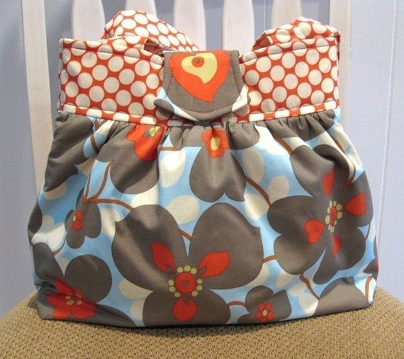 Handmade Gathered Bag in Amy Butler Lotus Dot Cherry by ByJudianne: