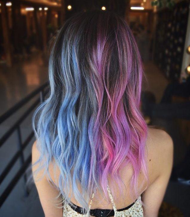 split hair color / two-tone hair
