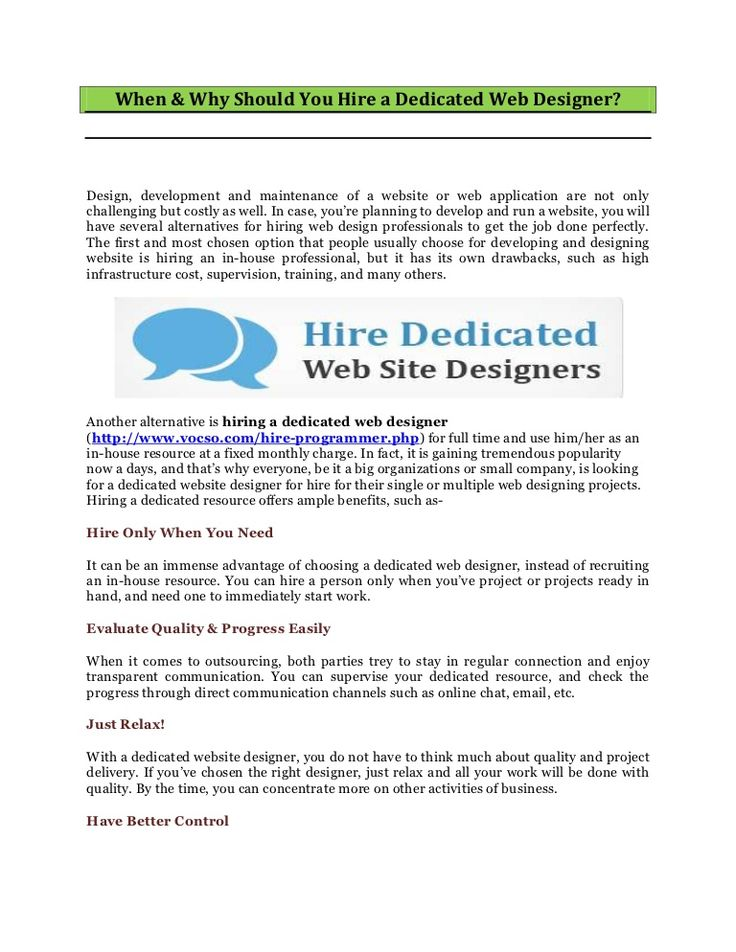 when-why-should-you-hire-a-dedicated-web-designer by VOCSO WEB STUDIO via Slideshare