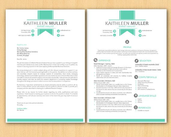Green Banner Modern Microsoft Word Resume and Cover Letter - letter templates microsoft word