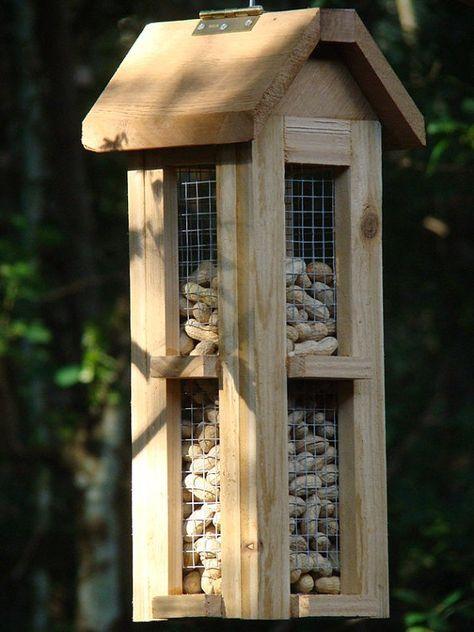 Beautiful cedar wood whole peanut bird by WoodBirdFeederFrenzy