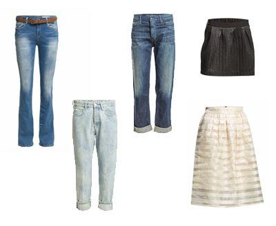 Y-vartalolle sopivat housut ja hameet