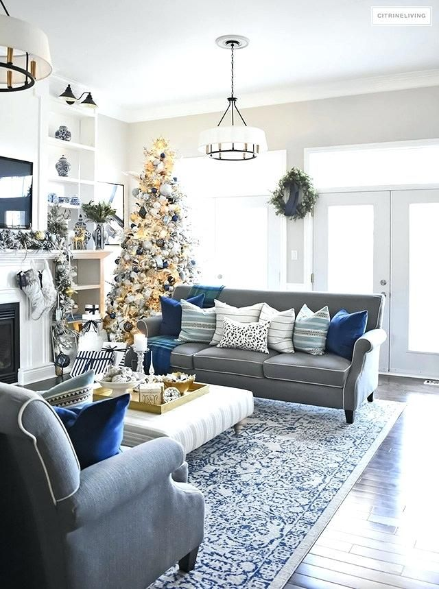 Navy Blue And Gold Living Room Decor Modern Home Interior Design In 2020 Silver Living Room Blue And Gold Living Room Christmas Living Rooms #navy #blue #and #gold #living #room #decor