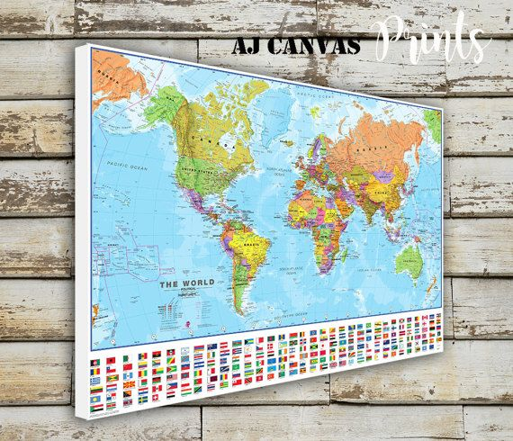 World Map, Large World Map, Push Pin Map for Home, Office Decoration, Framed World Map, Ready to Hang, Stretched, Detailed World Map Gift 8
