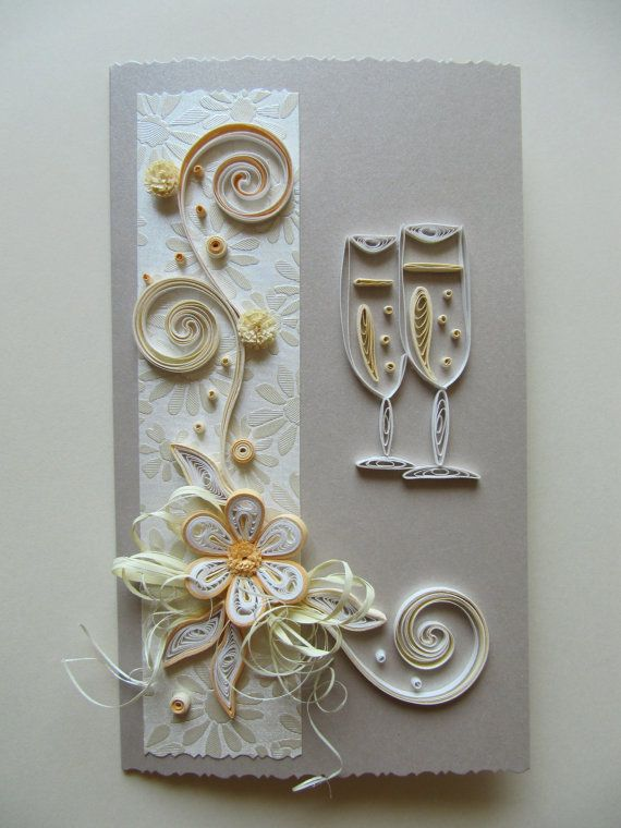 Handmade Quilling Greeting Card /  Wedding,Anniversary,Birthday /