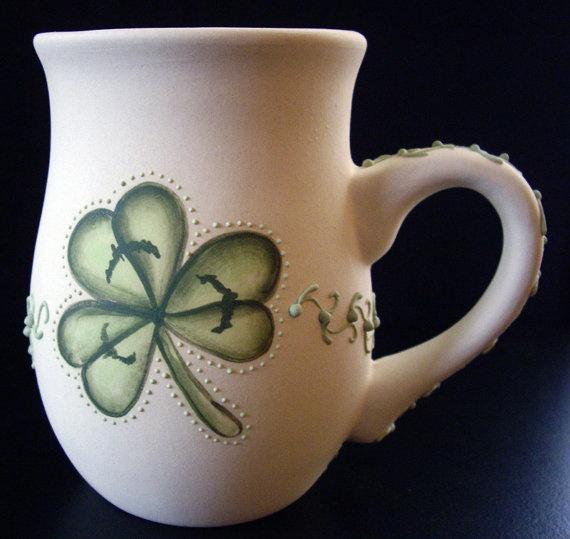 Shamrock  Mug  Three Leaf Clover Stoneware Coffee by RobinHarley64