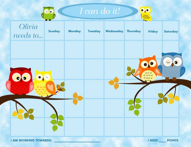 free printable reward charts for toddlers