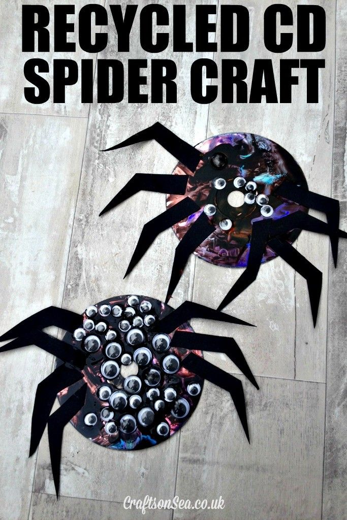 Recycled cd spider craft for kids