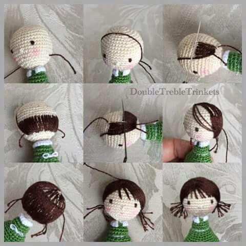 Amigurumi Hair - Tutorial ❥ 4U hilariafina http://www.pinterest.com/hilariafina/
