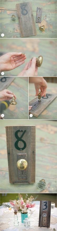 DIY doorknob table numbers