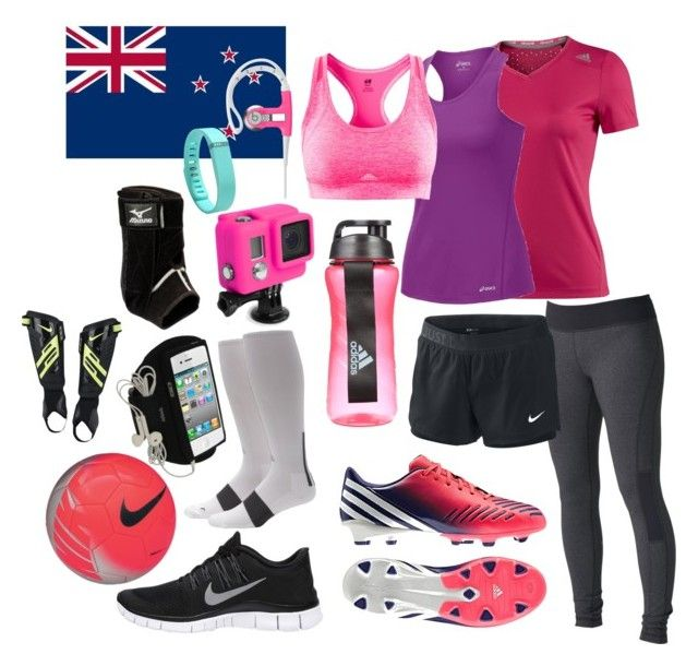 """""""Taking To NZ"""" by go-little-bad-girl ❤ liked on Polyvore featuring NIKE, Fitbit, Mizuno, adidas, Asics, Roxy, GoPro and H&M"""