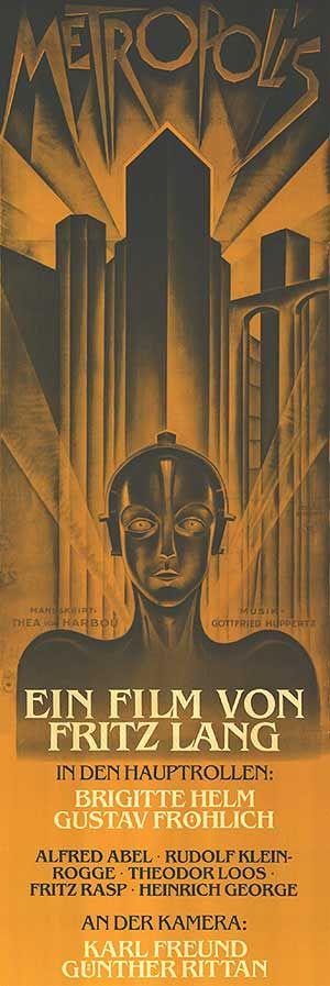 Metropolis (Metrópolis) es un filme alemán realizado por la productora UFA. Se trata de una película de ciencia ficción dirigida por Fritz Lang cuya trama se constituye una distopía urbana futurista. Este filme fue estrenado originalmente en el año 1927, y antes de la cinematografía sonorizada. Se considera como uno de los máximos exponentes del cine expresionista alemán.  El guion fue escrito por Fritz Lang y su esposa Thea von Harbou, inspirándose en una novela de 1926 de la misma Von…
