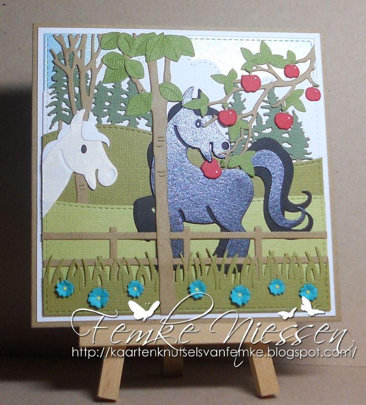 kaartenknutsels van femke: Designer of the month MD card #9 landscape with horses.