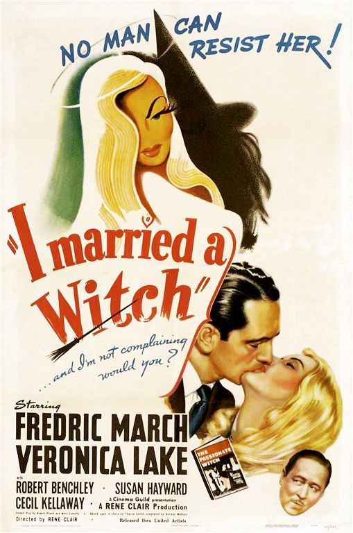 Married a Witch is a 1942 fantasy romantic comedy film, directed by René Clair, and starring Veronica Lake as a witch whose plan for revenge goes comically awry, with Fredric March as her foil. The film also features Robert Benchley, Susan Hayward and Cecil Kellaway. The screenplay by Robert Pirosh and Marc Connelly and uncredited other writers, including Dalton Trumbo, is based on the novel The Passionate Witch by Thorne Smith, who died before he could finish it;