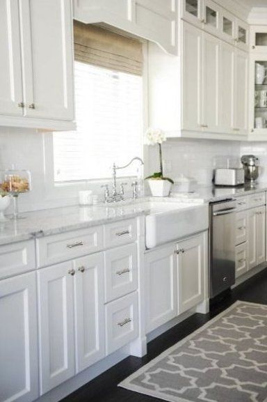 White Shaker cabinets cabinets ceiling height shows ...
