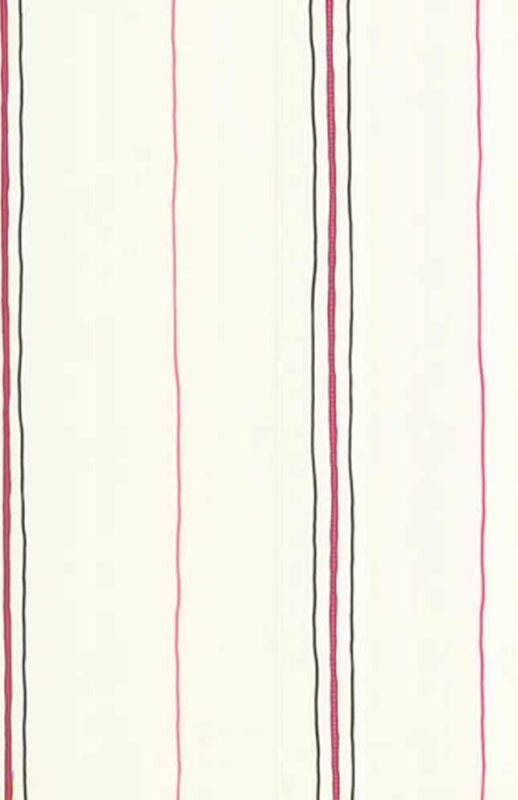 Black and Pink Skinny Stripes on White Wallpaper KL2971