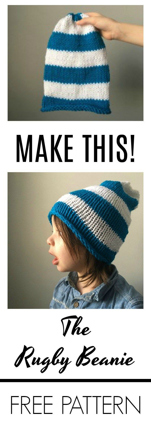 Looking for a fun, easy and quick knitting project? Check out this simple knit rugby beanie pattern! You'll love doing this over the weekend!
