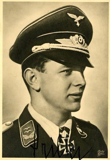 "Josef ""Pips"" Priller (27 July 1915 – 20 May 1961) was a German World War II fighter ace. Priller was also a recipient of the Knight's Cross of the Iron Cross with Oak Leaves and Swords. Josef Priller flew 1,307 combat missions to claim 101 victories. All his victories were recorded over the Western Front, and consisted of 11 USAAF heavy bombers, 68 Spitfires (the highest Luftwaffe ace's tally for this type), 11 Hurricanes, five medium bombers and five USAAF fighters."