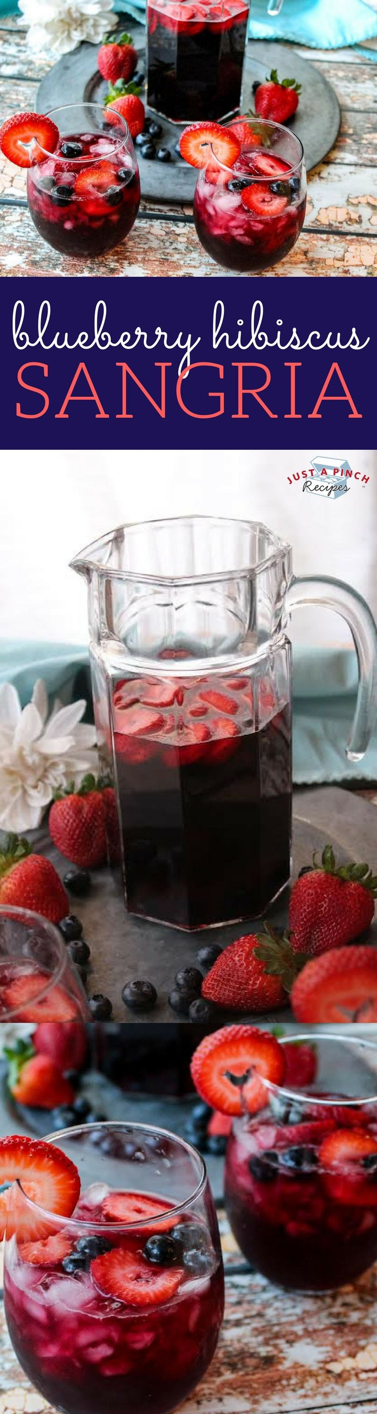 This blueberry hibiscus sangria recipe is a light, crisp, refreshing beverage - perfect for Summertime!