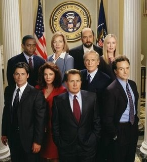 "the west wing - love this show. ""problem"" is that if I put on one episode I'll end up watching the entire series. Some of the most fantastic characters and stunningly smart dialogue."