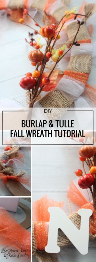 DIY Burlap and Tulle Fall Wreath Tutorial fits well with rustic decor