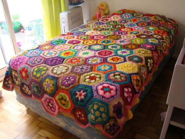 Colcha, cubrecama, manta tejido a mano en crochet - artesanum com