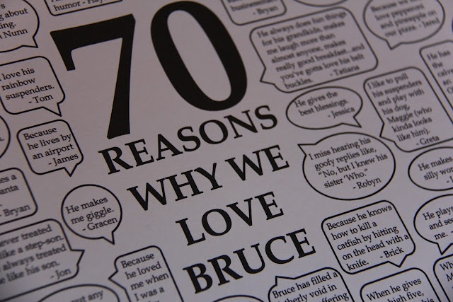 70th Birthday Gift: Reasons why they love recipient from 70 different people by SometimesCreative.blogspot.com