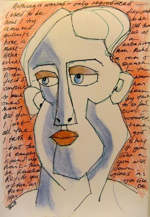 ARTFINDER: Nothing is Wasted by Steve Clement-Large - I had drawn the face and written the words and coloured the background, and I thought it looked good as it was. Less was more.