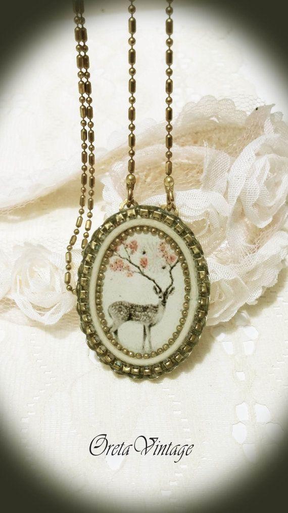 Christmas giftdeer necklaceVintage style necklace by OretaVintage