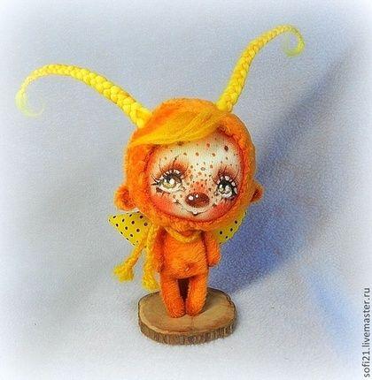 Букашка в оранжевом настроении - ловец счастья) - оранжевый,кукла,авторская игрушка
