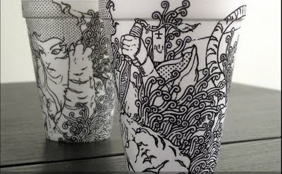 Sharpie artwork on styrofoam cups
