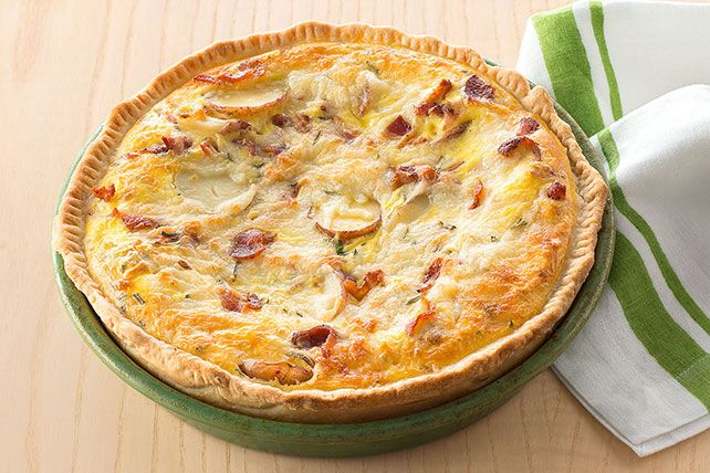 Made with sliced new potatoes, crumbled bacon and shredded Swiss cheese, this tasty quiche makes a hearty dish for the brunch crowd!
