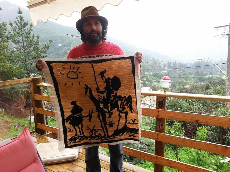 quijote realizado en lana
